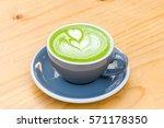 green tea matcha latte art with ...   Shutterstock . vector #571178350