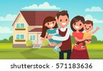 happy family in the background... | Shutterstock .eps vector #571183636