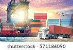 logistics import export... | Shutterstock . vector #571186090