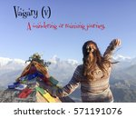 Small photo of Vagary (v)-Origin: Latin. A wandering or roaming journey. Unusual Travel Words You Should Know over the young lady with mountain view landscape.