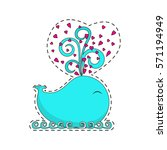 fashion patch badges with cute... | Shutterstock . vector #571194949