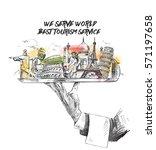 travel the world monument...   Shutterstock .eps vector #571197658