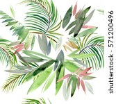 seamless pattern with tropical... | Shutterstock . vector #571200496