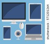 set of computer device. flat... | Shutterstock .eps vector #571201264