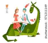 princess and knight read a book ... | Shutterstock .eps vector #571211149