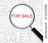 for sale. magnifying glass over ... | Shutterstock . vector #571215580