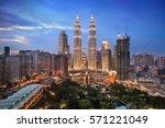 twilight over kuala lumpur... | Shutterstock . vector #571221049