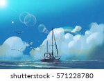the sailboat in the sea against ... | Shutterstock . vector #571228780