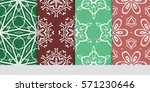 set of color floral  linear...   Shutterstock .eps vector #571230646