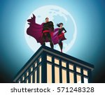 superhero couple. male and... | Shutterstock .eps vector #571248328