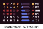 Pixel art game interface elements, icons, loading progress bars and numbers | Shutterstock vector #571251304
