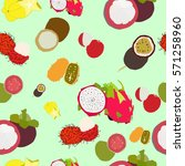 exotic fruit. pattern. platonia.... | Shutterstock .eps vector #571258960