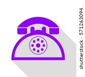 retro telephone sign. violet...