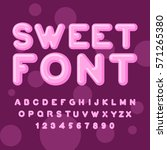 sweet font. pink letters.... | Shutterstock . vector #571265380