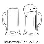 two pint glasses of beer  full...   Shutterstock .eps vector #571273123