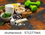 vegan proteins food. products... | Shutterstock . vector #571277464