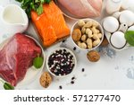 high protein food   fish  meat  ... | Shutterstock . vector #571277470