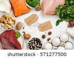 high protein food   fish  meat  ... | Shutterstock . vector #571277500