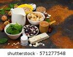 vegan proteins food. products... | Shutterstock . vector #571277548