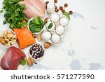 high protein food   fish  meat  ...   Shutterstock . vector #571277590