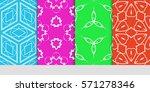 set of original floral  linear...   Shutterstock .eps vector #571278346