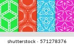 set of original floral  linear...   Shutterstock .eps vector #571278376