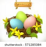 bird nest. easter eggs and... | Shutterstock .eps vector #571285384