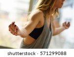 young beautiful woman... | Shutterstock . vector #571299088
