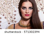 closeup elegant  woman with... | Shutterstock . vector #571302394
