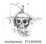 survival fisherman sitting on... | Shutterstock .eps vector #571303930