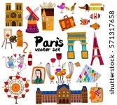 vector set of  hand drawn paris ... | Shutterstock .eps vector #571317658