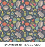 seamless pattern forest with... | Shutterstock .eps vector #571327300