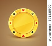 golden casino chip. game money. ... | Shutterstock .eps vector #571335970