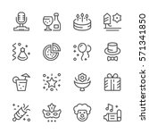 set line icons of party