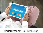 browser concept on tablet pc... | Shutterstock . vector #571343854