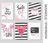 collection of 6 discount cards... | Shutterstock .eps vector #571344190