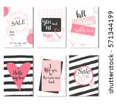 collection of 6 discount cards... | Shutterstock .eps vector #571344199