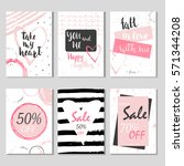 collection of 6 discount cards... | Shutterstock .eps vector #571344208