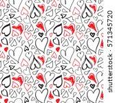 doodle heart seamless pattern.... | Shutterstock .eps vector #571345720