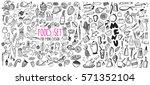 hand drawn food elements. set... | Shutterstock .eps vector #571352104