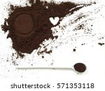 used coffee ground with a white ... | Shutterstock . vector #571353118