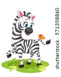 baby zebra drawing playing with ... | Shutterstock .eps vector #571358860