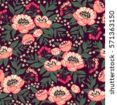 seamless floral pattern with... | Shutterstock .eps vector #571363150