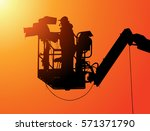 the cameraman silhouette... | Shutterstock .eps vector #571371790