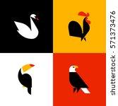swan  rooster  toucan  bald... | Shutterstock .eps vector #571373476