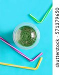 spirulina smoothies in a glass  ...   Shutterstock . vector #571379650