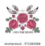 hand drawn boho style design... | Shutterstock .eps vector #571383388