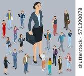 businesswoman big boss leader... | Shutterstock .eps vector #571390078