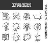 education flat icons set | Shutterstock .eps vector #571390156