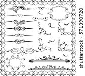 ornate fine set is on white | Shutterstock . vector #571390720